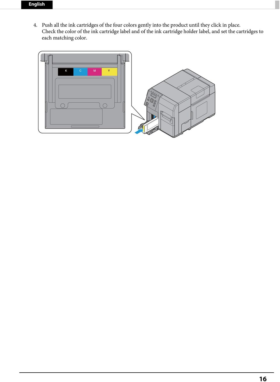 Check the color of the ink cartridge label and of the ink