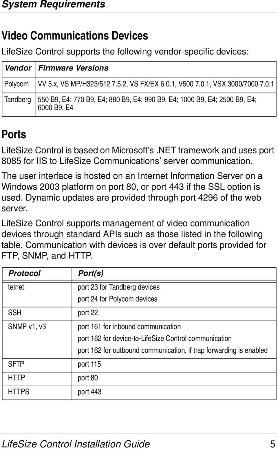 net framework and uses port 8085 for IIS to LifeSize Communications server communication.