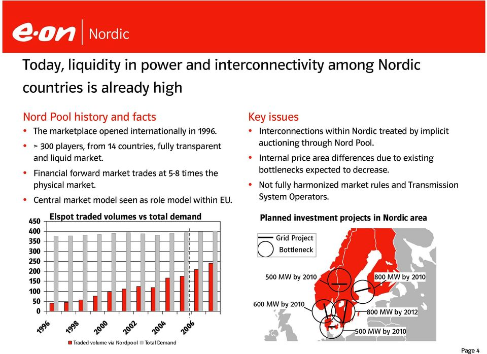 Key issues Interconnections within Nordic treated by implicit auctioning through Nord Pool. Internal price area differences due to existing bottlenecks expected to decrease.