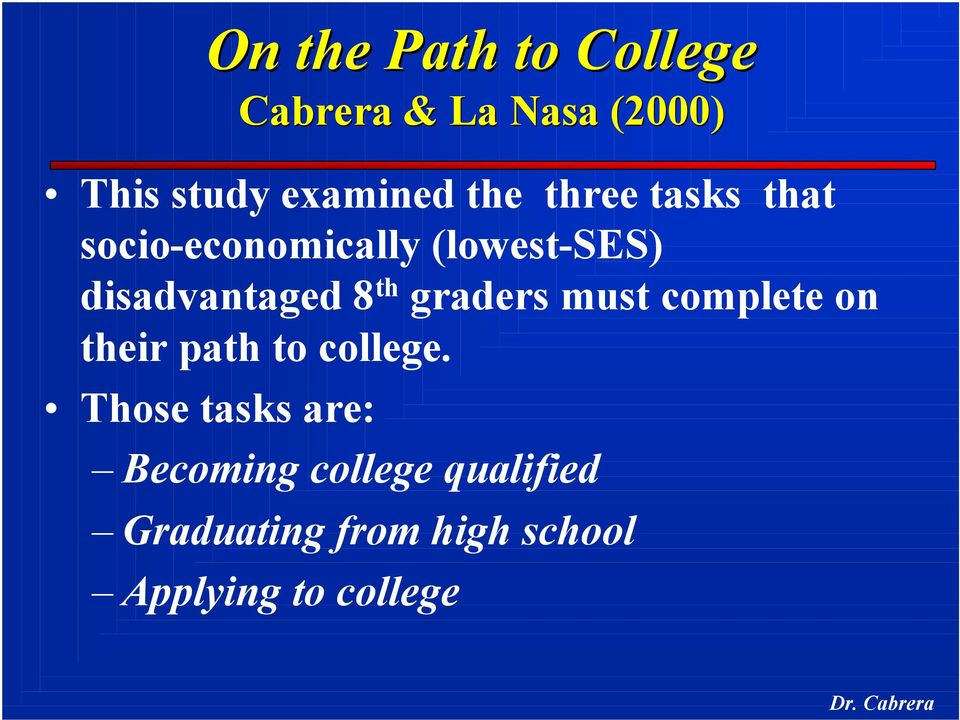 th graders must complete on their path to college.