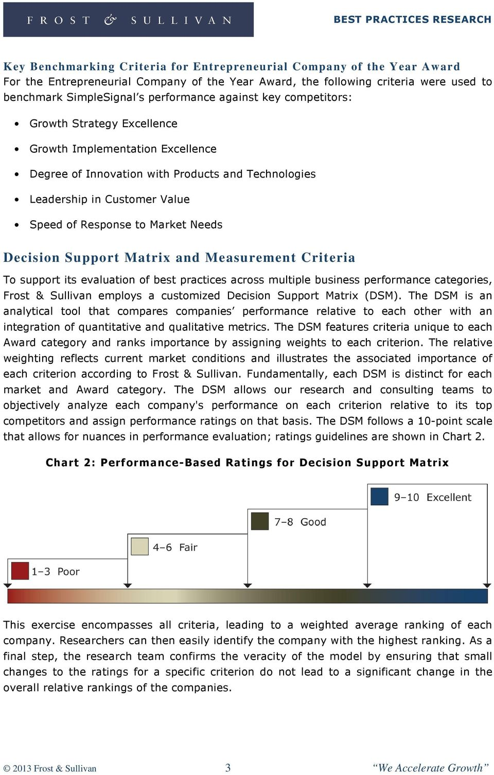 Decision Support Matrix and Measurement Criteria To support its evaluation of best practices across multiple business performance categories, Frost & Sullivan employs a customized Decision Support