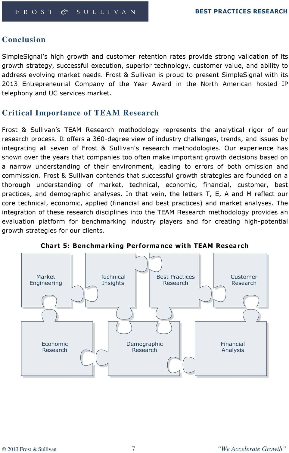 Critical Importance of TEAM Research Frost & Sullivan s TEAM Research methodology represents the analytical rigor of our research process.