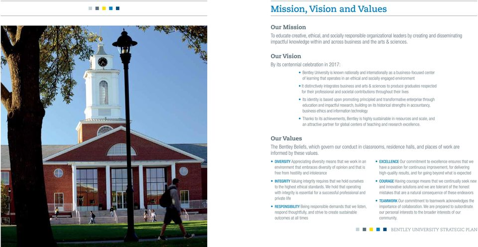 Our Vision By its centennial celebration in 2017: Bentley University is known nationally and internationally as a business-focused center of learning that operates in an ethical and socially engaged