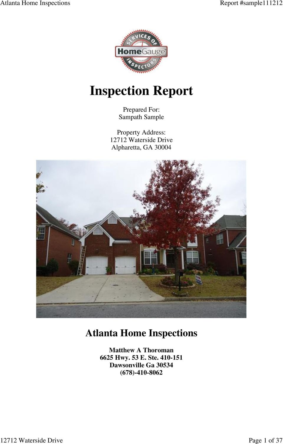 30004 Atlanta Home Inspections Matthew A Thoroman
