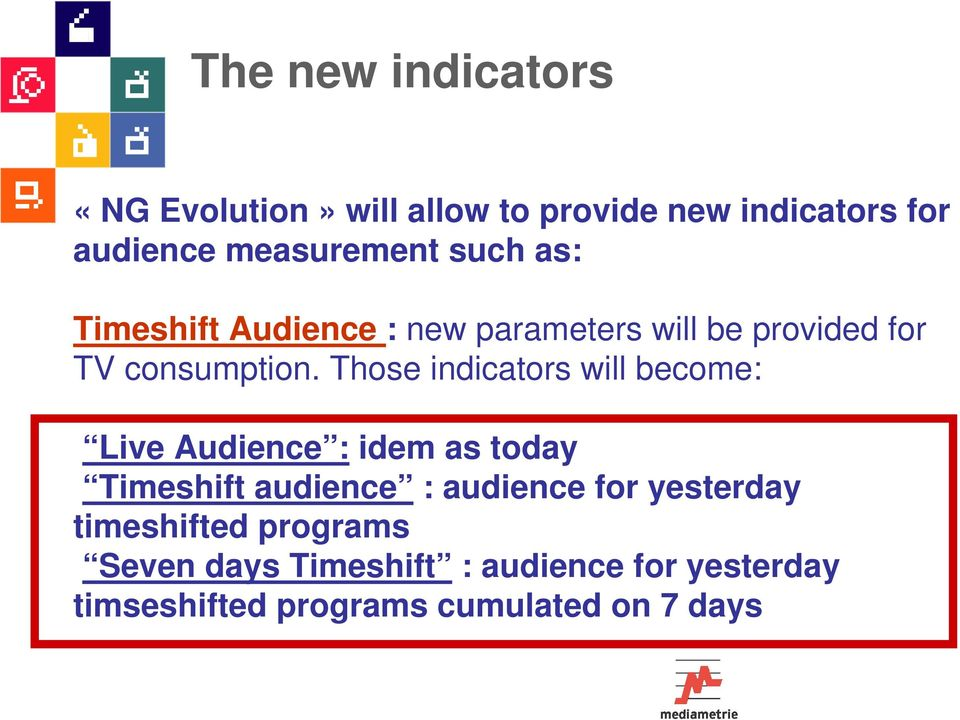 Those indicators will become: Live Audience : idem as today Timeshift audience : audience for