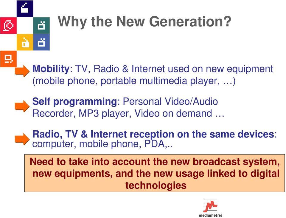 Self programming: Personal Video/Audio Recorder, MP3 player, Video on demand Radio, TV & Internet