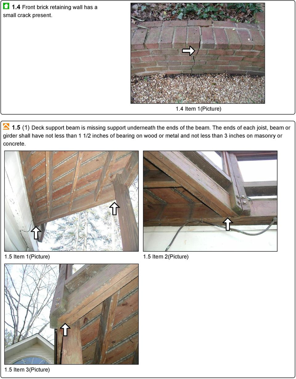 The ends of each joist, beam or girder shall have not less than 1 1/2 inches of bearing on