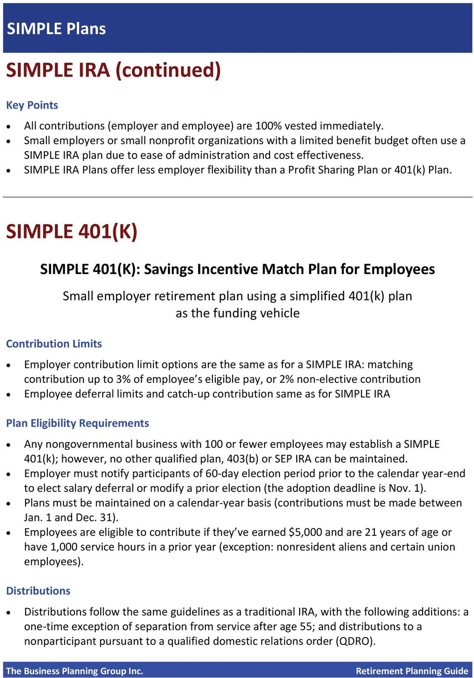 SIMPLE IRA Plans offer less employer flexibility than a Profit Sharing Plan or 401(k) Plan.