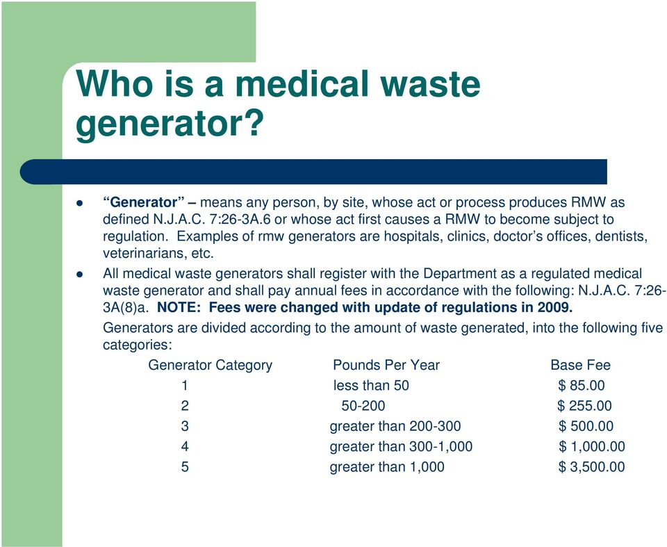 All medical waste generators shall register with the Department as a regulated medical waste generator and shall pay annual fees in accordance with the following: N.J.A.C. 7:26-3A(8)a.