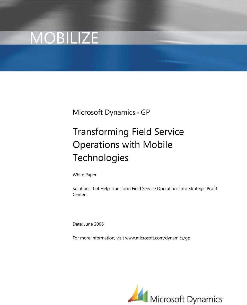 Help Transform Field Service Operations into Strategic Profit