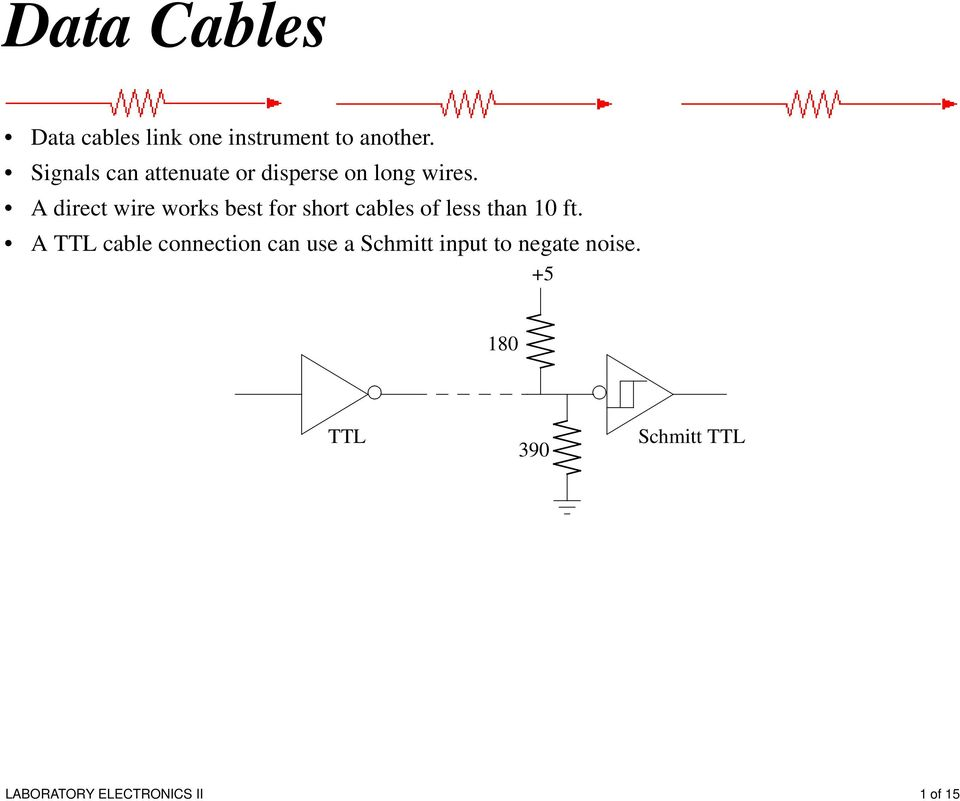 A direct wire works best for short cables of less than 10 ft.