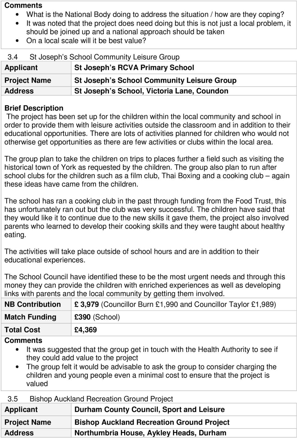 4 St Joseph s School Community Leisure Group St Joseph s RCVA Primary School St Joseph s School Community Leisure Group St Joseph s School, Victoria Lane, Coundon The project has been set up for the
