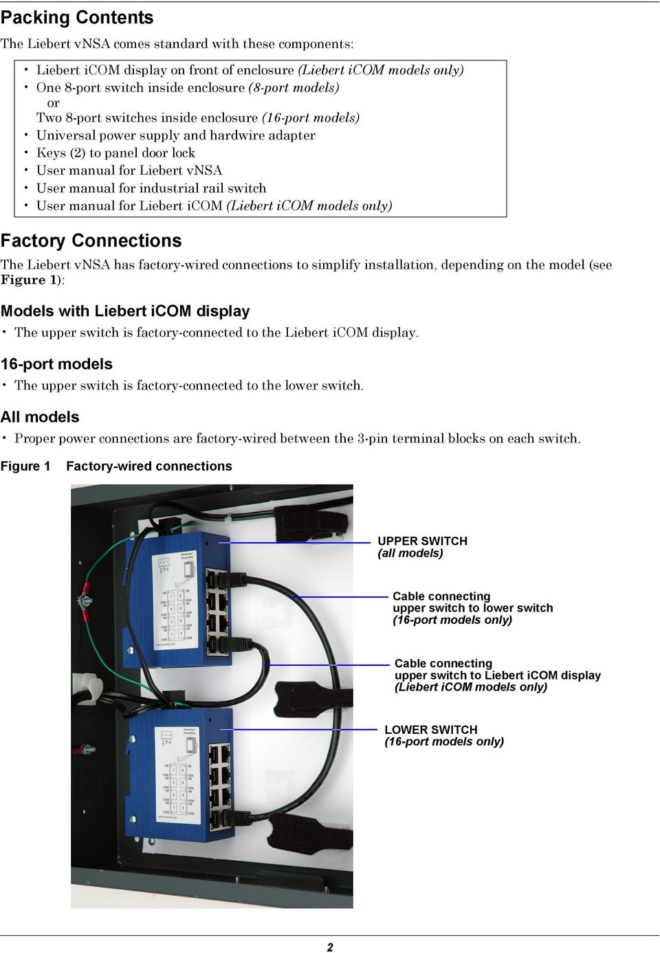 manual for Liebert icom (Liebert icom models only) Factory Connections The Liebert vnsa has factory-wired connections to simplify installation, depending on the model (see Figure 1): Models with