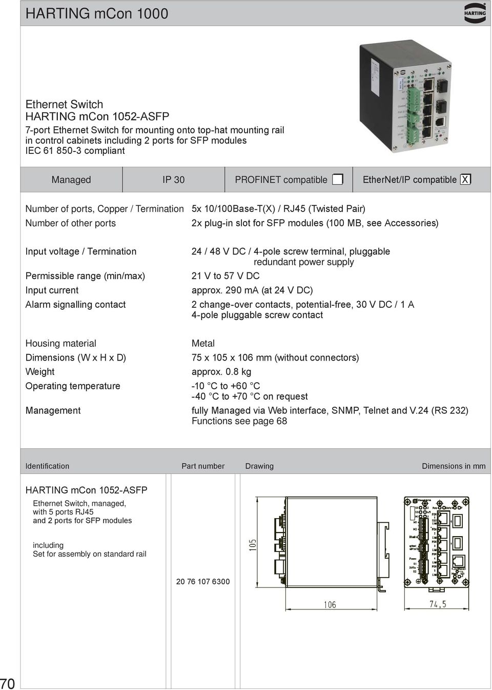 Permissible range (min/max) Input current Alarm signalling contact 24 / 48 V DC / 4-pole screw terminal, pluggable redundant power supply 21 V to 57 V DC approx.