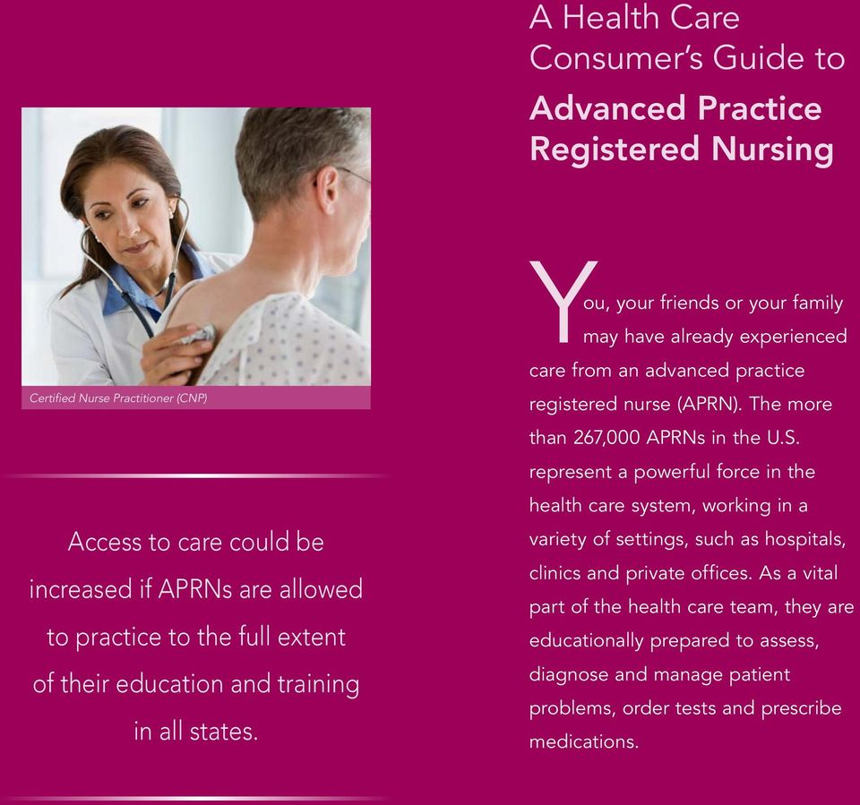 You, your friends or your family may have already experienced care from an advanced practice registered nurse (APRN). The more than 267,000 APRNs in the U.S.