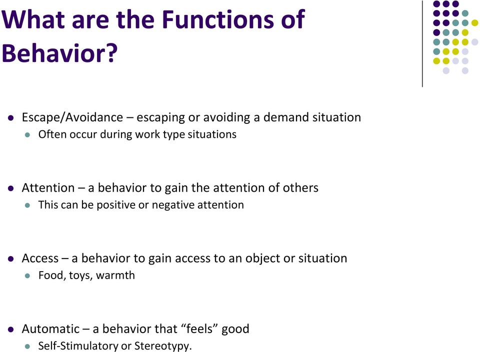 situations Attention a behavior to gain the attention of others This can be positive or