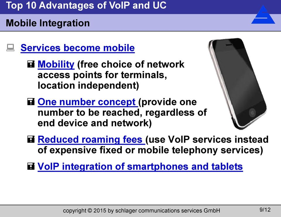 regardless of end device and network) Reduced roaming fees (use VoIP services instead of