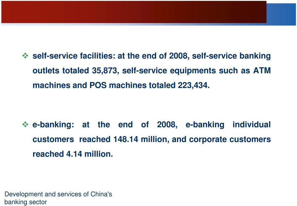 e-banking: at the end of 2008, e-banking individual customers reached 148.