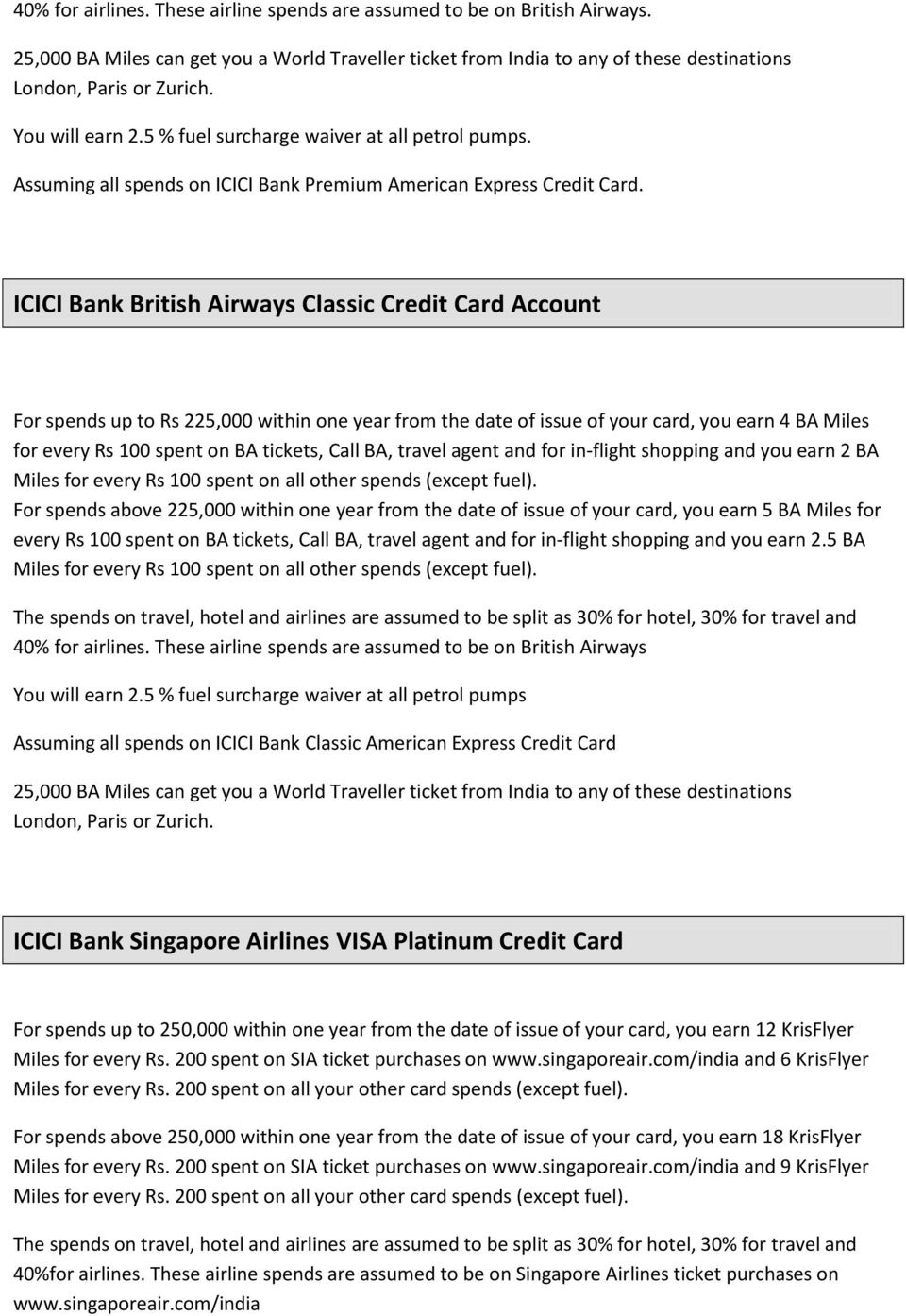 ICICI Bank British Airways Classic Credit Card Account For spends up to Rs 225,000 within one year from the date of issue of your card, you earn 4 BA Miles for every Rs 100 spent on BA tickets, Call