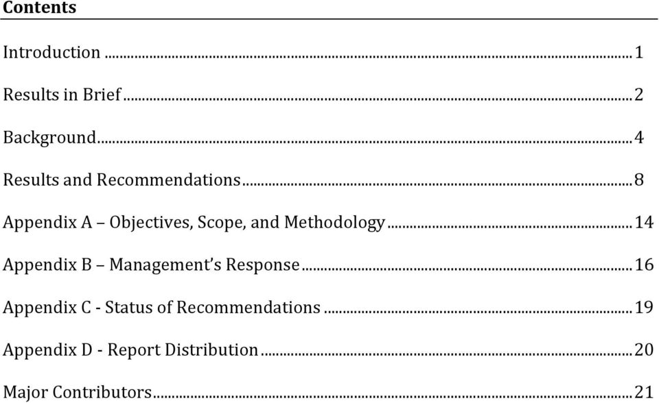 .. 8 Appendix A Objectives, Scope, and Methodology.