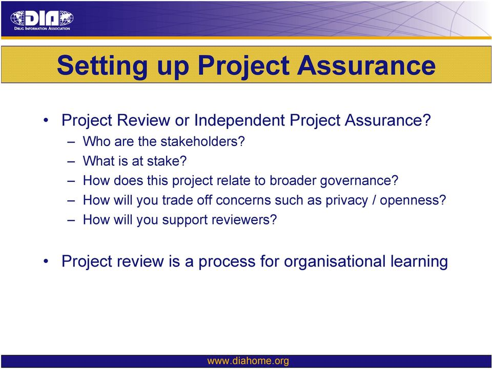 How does this project relate to broader governance?
