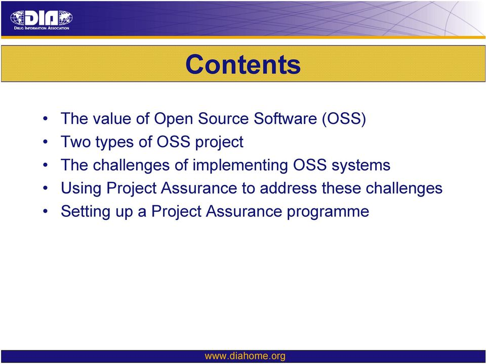 OSS systems Using Project Assurance to address these