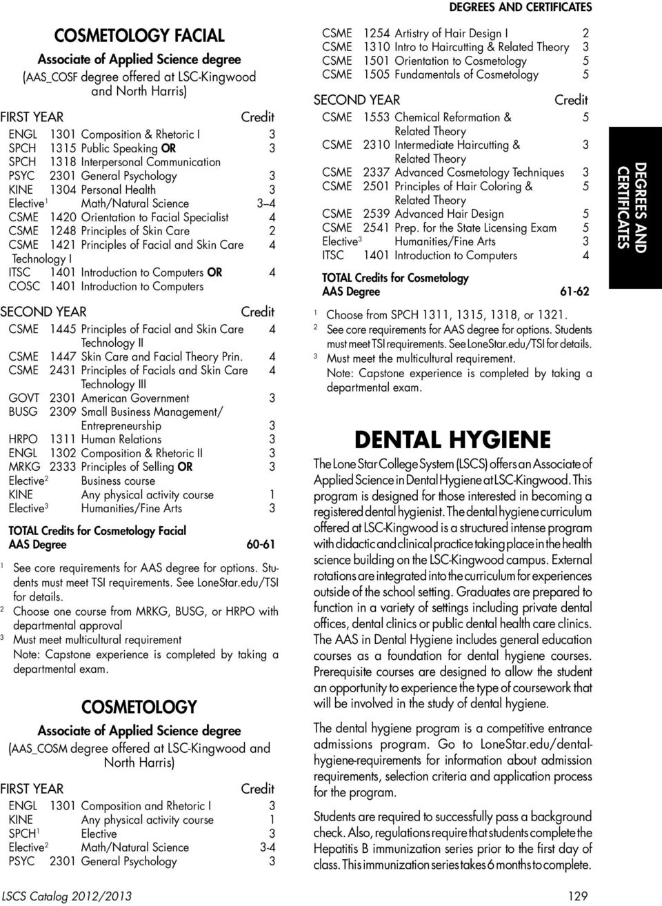 Introduction to Computers OR 4 COSC 40 Introduction to Computers CSME 445 Principles of Facial and Skin Care 4 Technology II CSME 447 Skin Care and Facial Theory Prin.