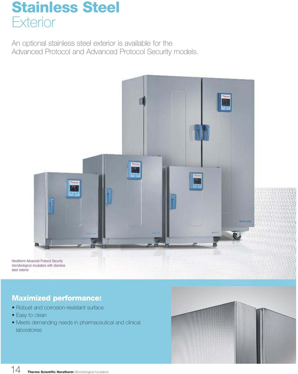 Heratherm Advanced Protocol Security microbiological incubators with stainless steel exterior Maximized