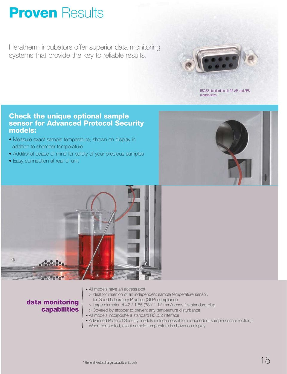 chamber temperature Additional peace of mind for safety of your precious samples Easy connection at rear of unit data monitoring capabilities All models have an access port > Ideal for insertion of