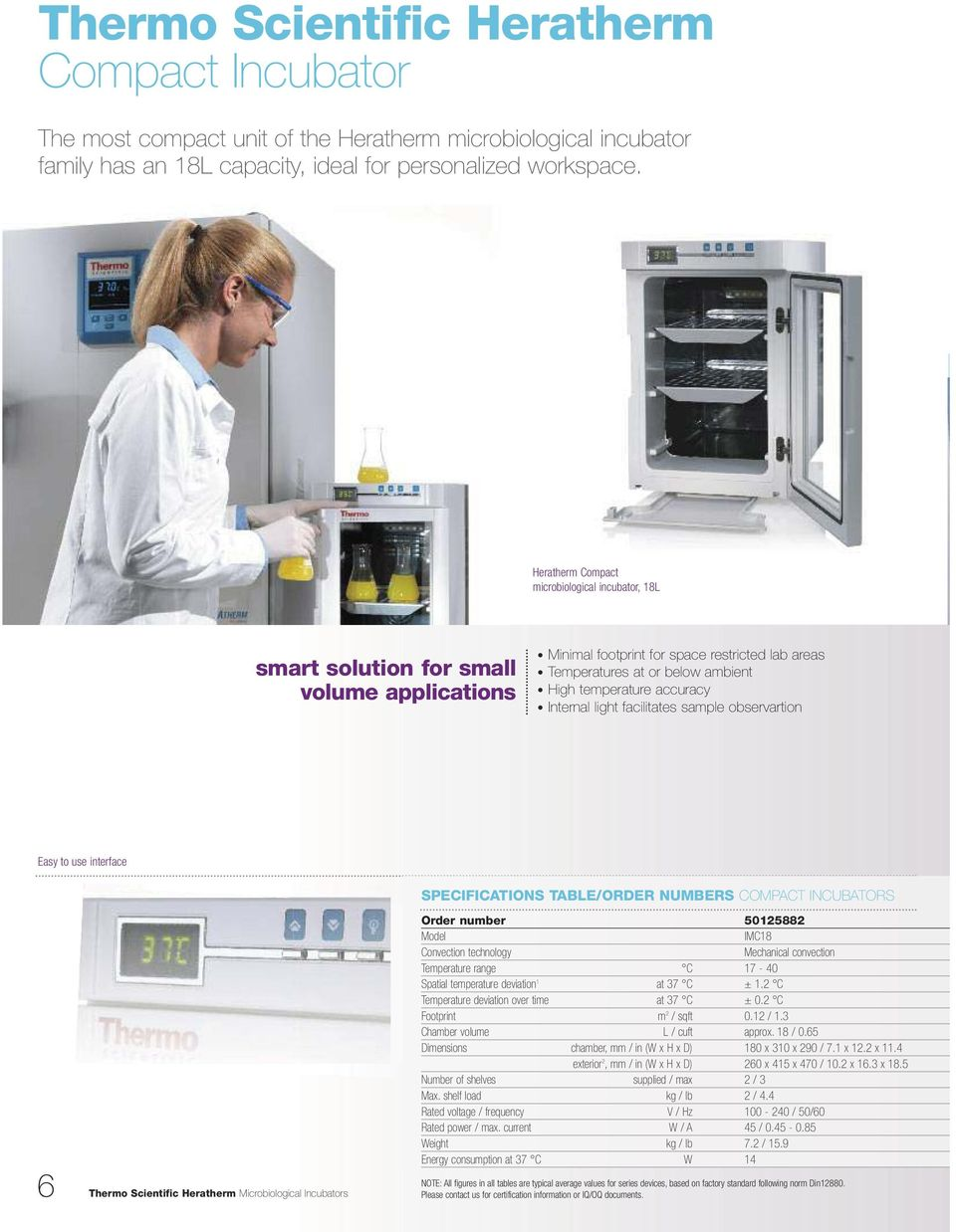 accuracy Internal light facilitates sample observartion Easy to use interface 6 Thermo Scientific Heratherm Microbiological Incubators SPECIFICATIONS TABLE/ORDER NUMBERS COMPACT INCUBATORS Order