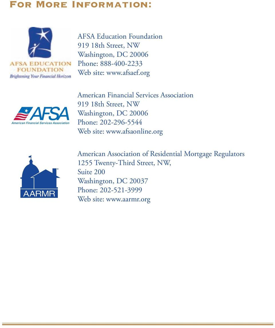 org American Financial Services Association 919 18th Street, NW Washington, DC 20006 Phone: 202-296-5544