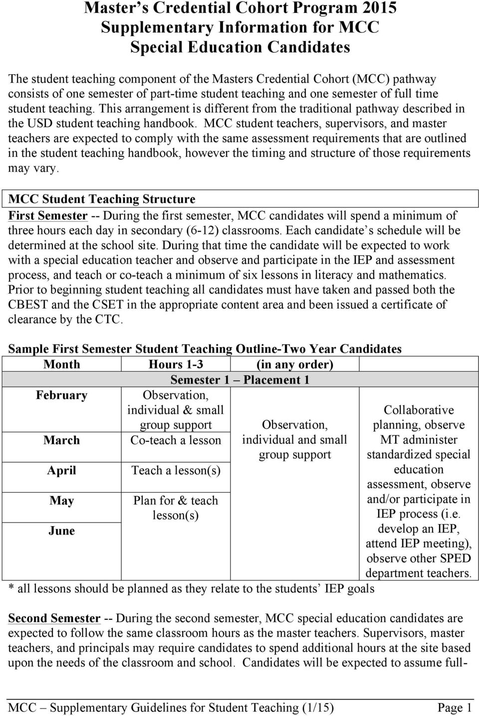 MCC student teachers, supervisors, and master teachers are expected to comply with the same assessment requirements that are outlined in the student teaching handbook, however the timing and