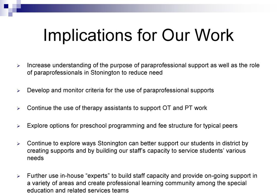 peers Continue to explore ways Stonington can better support our students in district by creating supports and by building our staff s capacity to service students various needs Further