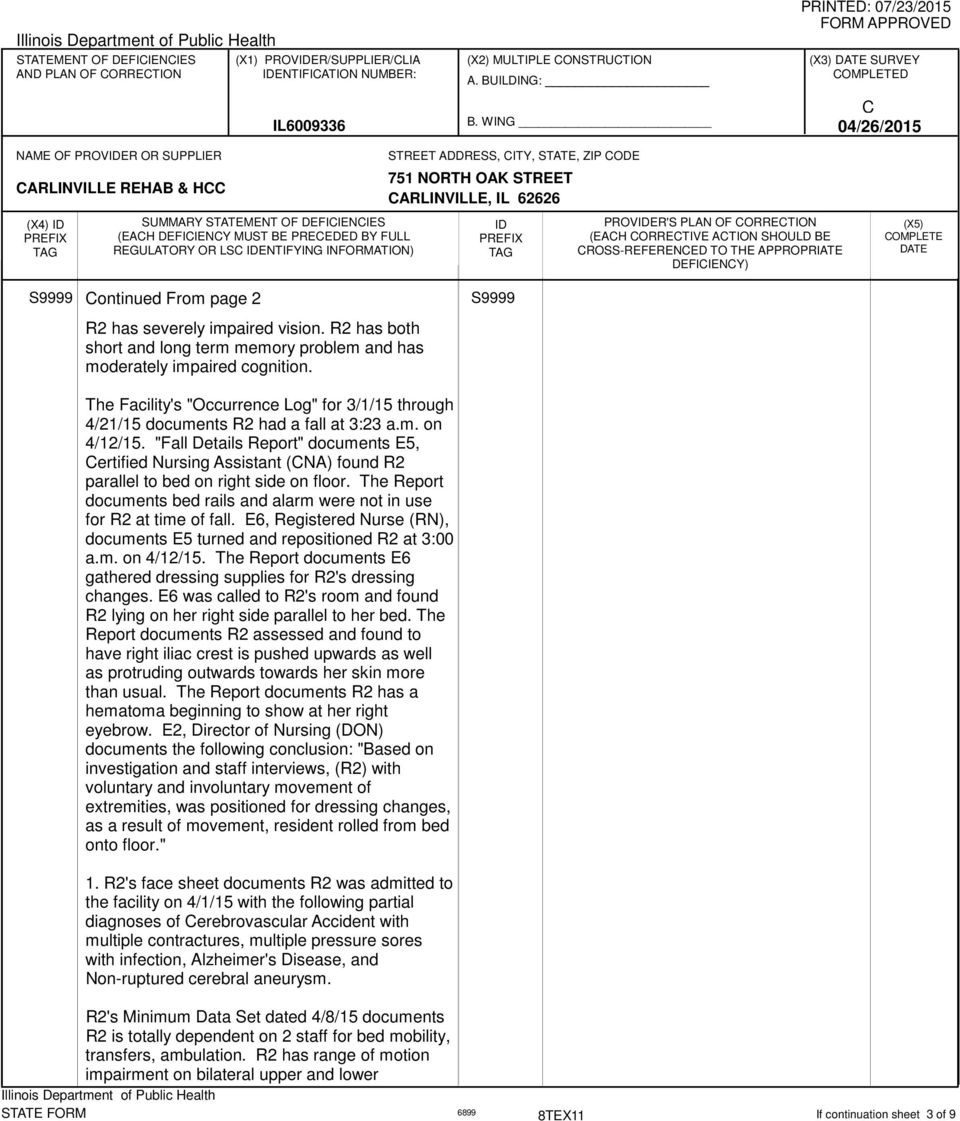 """Fall Details Report"" documents E5, ertified Nursing Assistant (NA) found R2 parallel to bed on right side on floor. The Report documents bed rails and alarm were not in use for R2 at time of fall."