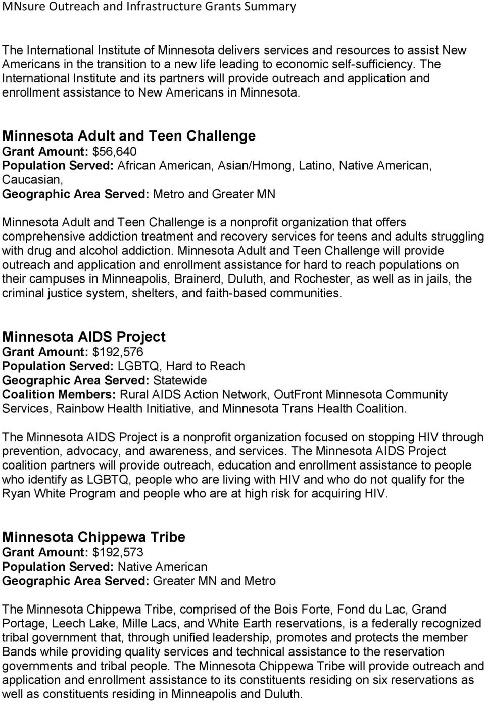 Minnesota Adult and Teen Challenge Grant Amount: $56,640 Population Served: African American, Asian/Hmong, Latino, Native American, Caucasian, and Greater MN Minnesota Adult and Teen Challenge is a