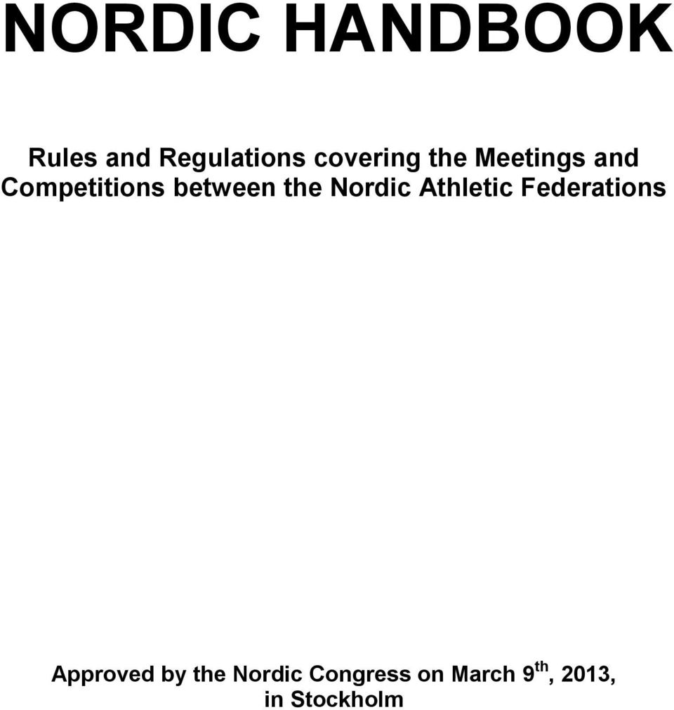 between the Nordic Athletic Federations