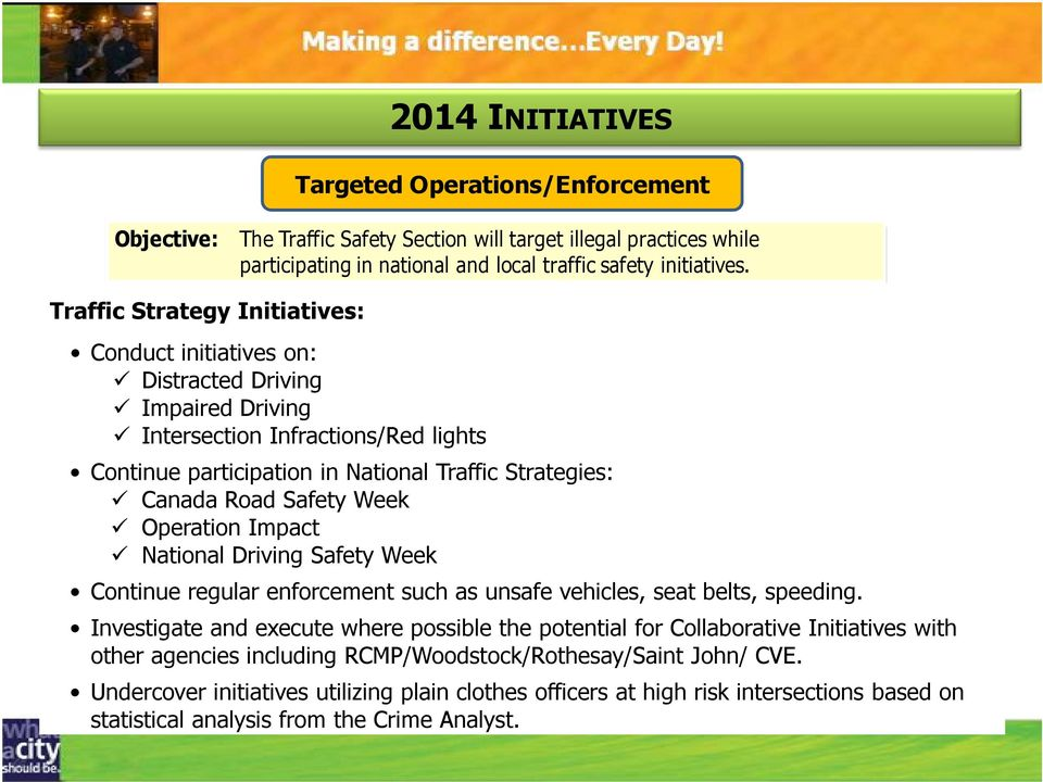National Driving Safety Week Continue regular enforcement such as unsafe vehicles, seat belts, speeding.