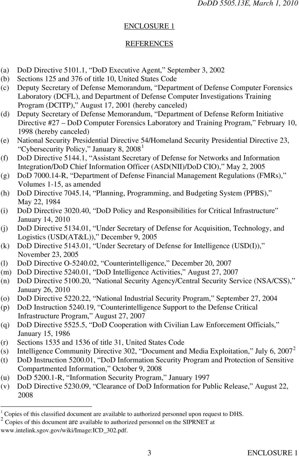 (DCFL), and Department of Defense Computer Investigations Training Program (DCITP), August 17, 2001 (hereby canceled) (d) Deputy Secretary of Defense Memorandum, Department of Defense Reform