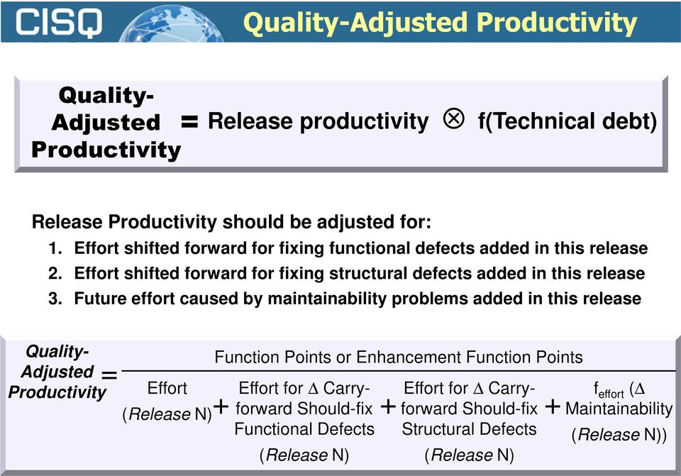 Future effort caused by maintainability problems added in this release Quality- Adjusted Productivity = Effort (Release N) + Function Points or Enhancement