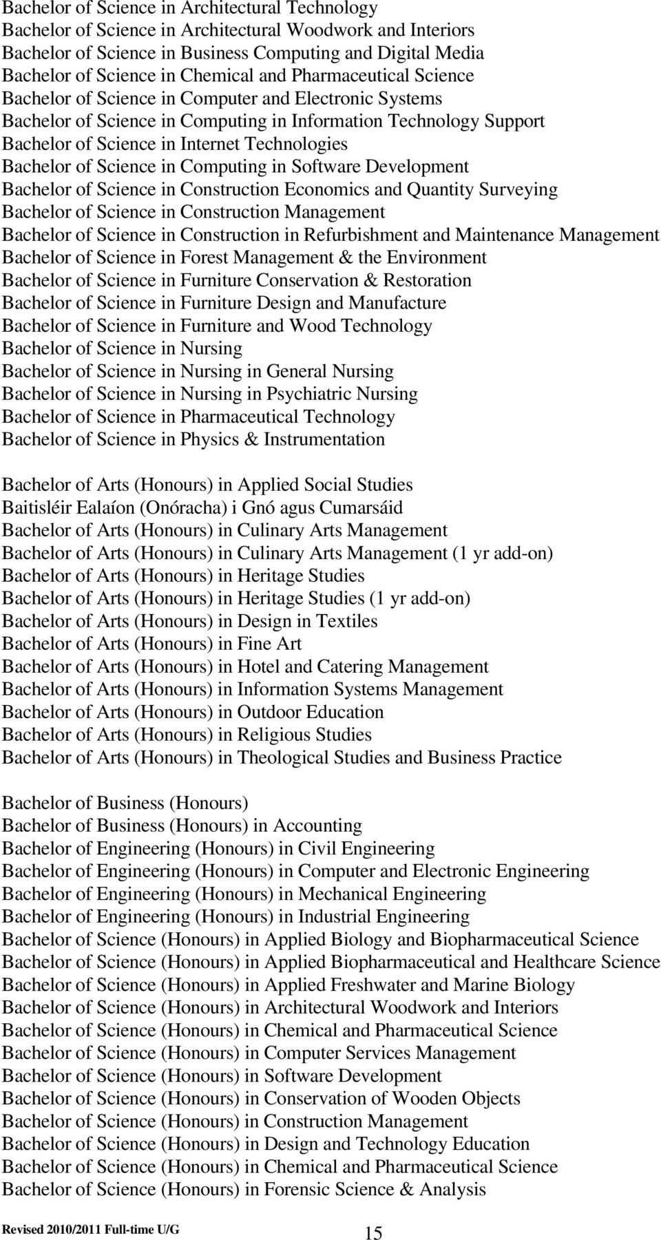 Bachelor of Science in Computing in Software Development Bachelor of Science in Construction Economics and Quantity Surveying Bachelor of Science in Construction Management Bachelor of Science in