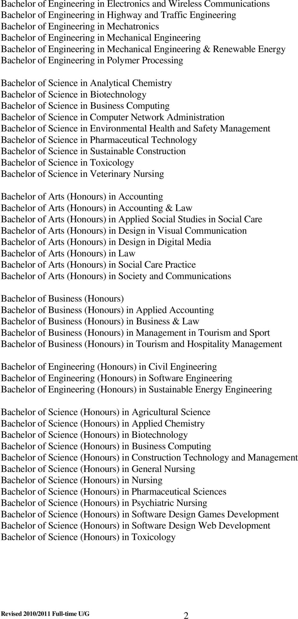 Science in Biotechnology Bachelor of Science in Business Computing Bachelor of Science in Computer Network Administration Bachelor of Science in Environmental Health and Safety Management Bachelor of