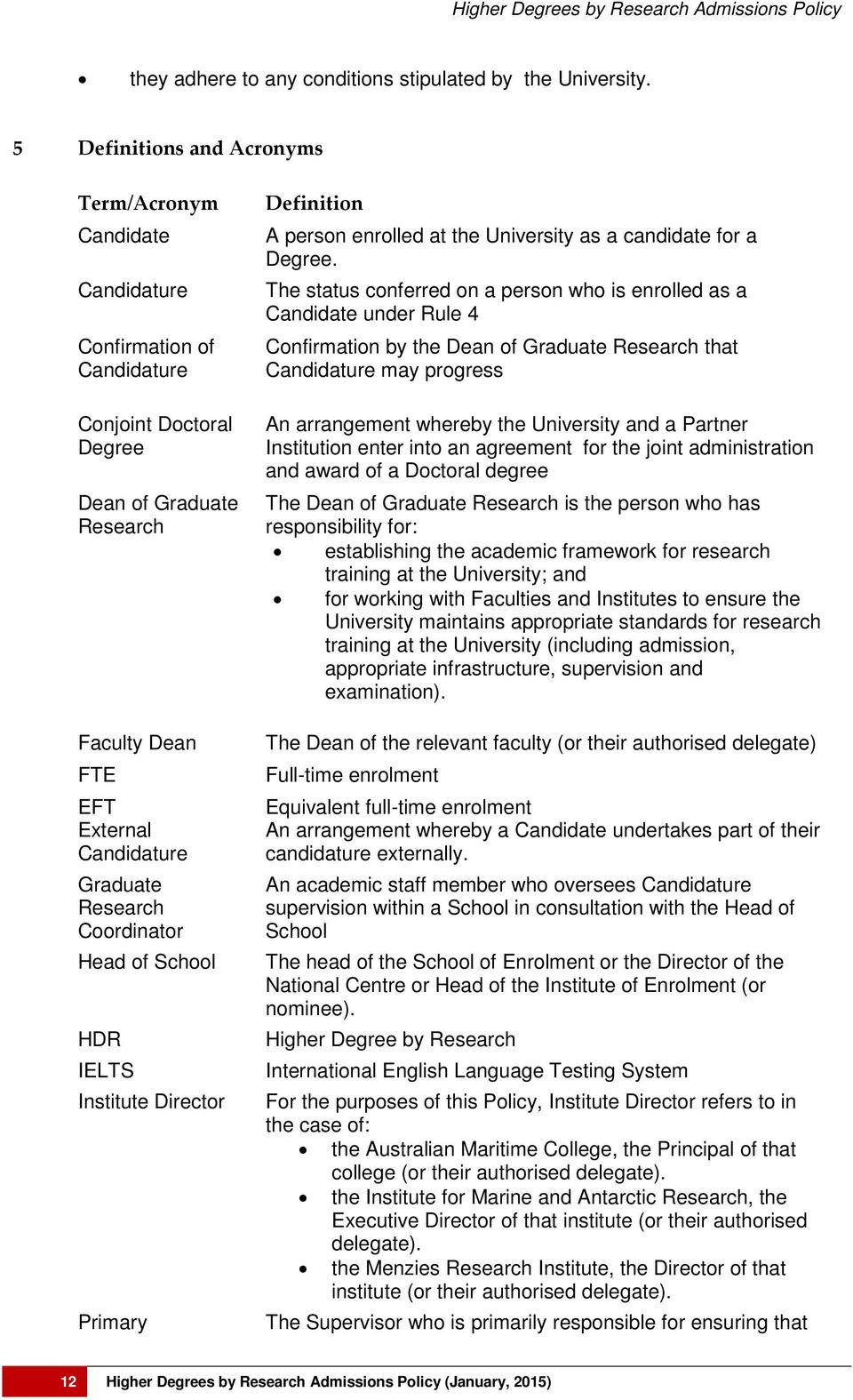 Research Coordinator Head of School HDR IELTS Institute Director Primary Definition A person enrolled at the University as a candidate for a Degree.