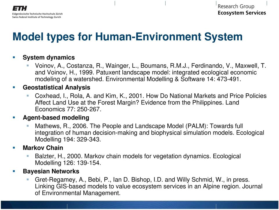How Do National Markets and Price Policies Affect Land Use at the Forest Margin? Evidence from the Philippines. Land Economics 77: 250-267. Agent-based modeling Mathews, R., 2006.
