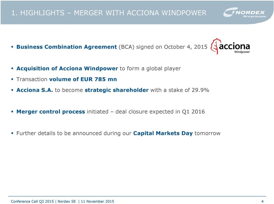 Acciona S.A. to become strategic shareholder with a stake of 29.