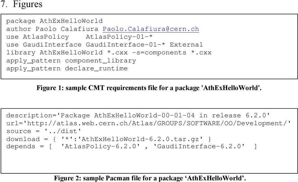 cxx apply_pattern component_library apply_pattern declare_runtime Figure 1: sample CMT requirements file for a package 'AthExHelloWorld'.