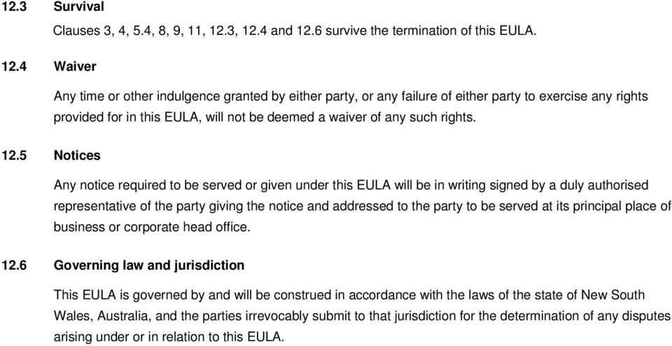 12.5 Notices Any notice required to be served or given under this EULA will be in writing signed by a duly authorised representative of the party giving the notice and addressed to the party to be