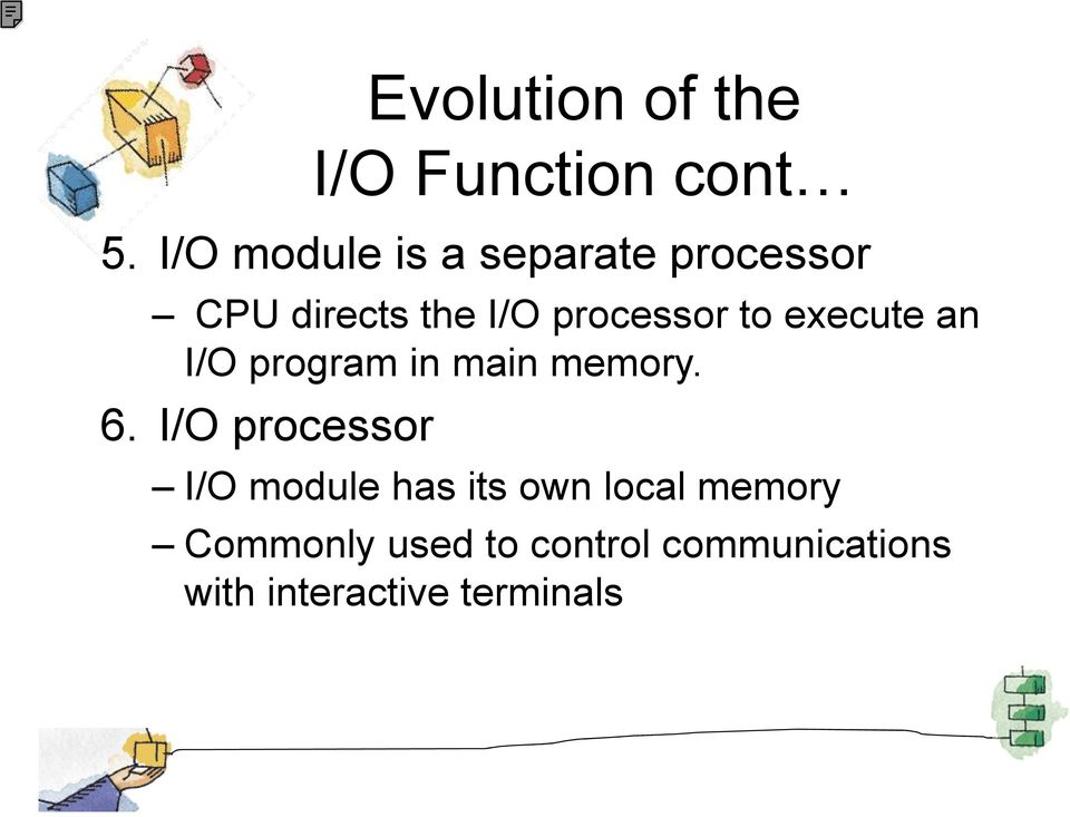 to execute an I/O program in main memory. 6.
