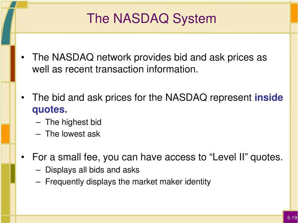 The bid and ask prices for the NASDAQ represent inside quotes.