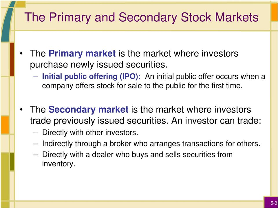 The Secondary market is the market where investors trade previously issued securities.