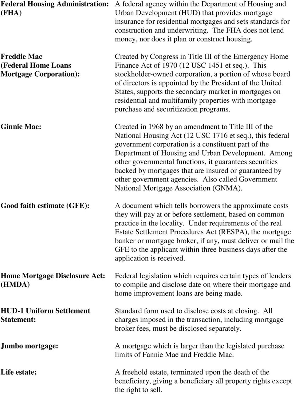 Freddie Mac (Federal Home Loans Mortgage Corporation): Ginnie Mae: Good faith estimate (GFE): Home Mortgage Disclosure Act: (HMDA) HUD-1 Uniform Settlement Statement: Jumbo mortgage: Life estate:
